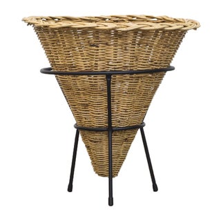 1960's Woven Rattan Cone Basket on Stand