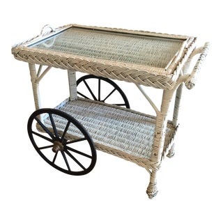 Wicker and Glass Bar Cart