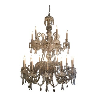 Antique Cut Crystal 18 Light Chandelier