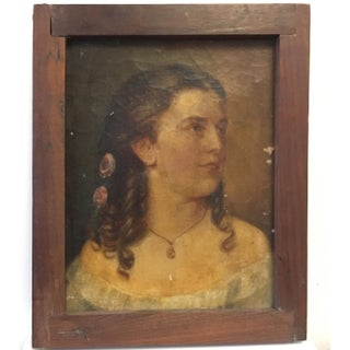 Antique Oil Portrait Painting of a Victorian Woman