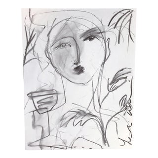 Leslie Weaver Flowers & Wine in Charcoal Drawing
