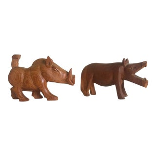 Vintage African Mid-Century Hand Carved Teak Hippo & Warthog Figures- A Pair