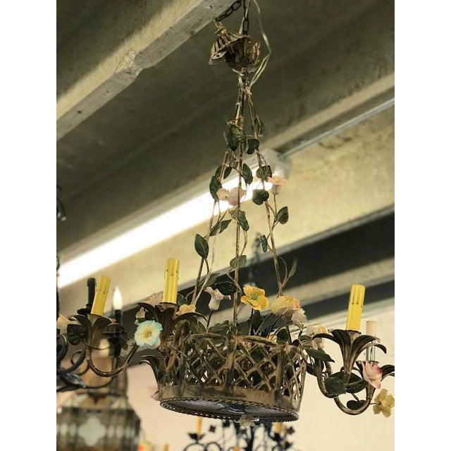 Vintage Metal Floral Chandelier - Image 3 of 5