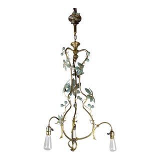Organic Three-Light Gas Fixture, Circa 1910