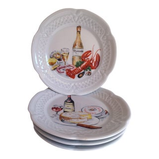 French Handpainted Side Plates - Set of 4
