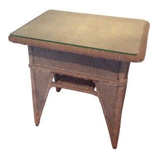 Antique Wicker Side Table With Glass Top