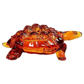Amber Glass Turtle Candy Bowl