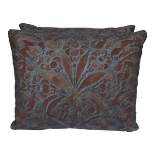 Fortuny Rust & Silver-Gold Pillows - A Pair