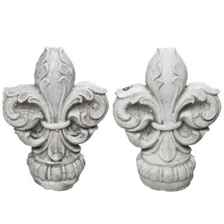 Cast Concrete Fleur-De-Lis Finials - A Pair