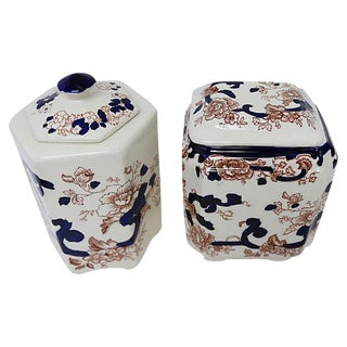 Mason's Mandalay Ironstone Canisters - A Pair