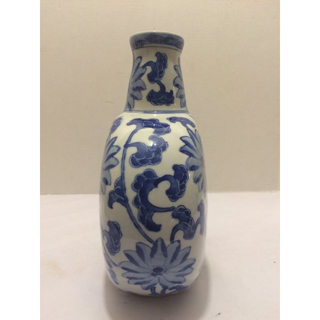 Image of Chinosorie Vase in Blue with Floral Details