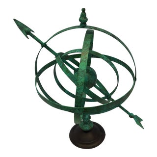Vintage Green Armillary Sculpture