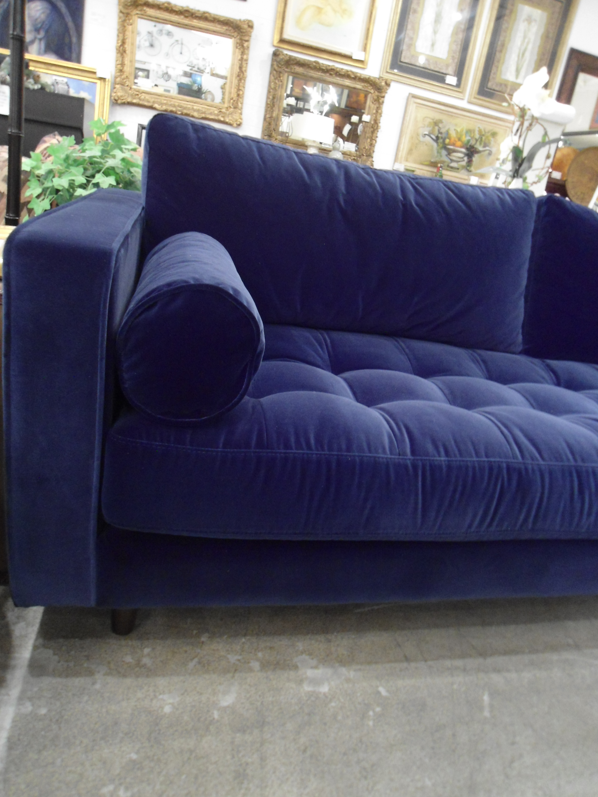 sven cascadia blue tufted sofa w bolster pillows by article chairish