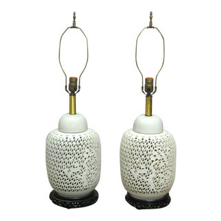 Blanc de Chine Pierced Table Lamps - A Pair