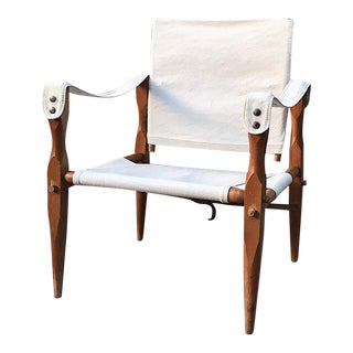 Teak & Canvas Danish Safari Chair