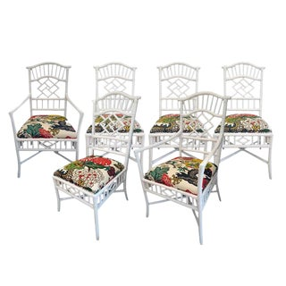 Vintage Chippendale White Lacquered Chairs - Set of 6