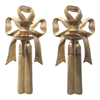Vintage Brass Bow and Tassel Candlestick Sconces - Pair