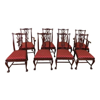 1980s Chippendale Style Mahogany Department Store Dining Room Chairs - Set of 8
