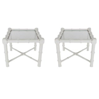 White Faux Bamboo Chinoiserie Tables - A Pair