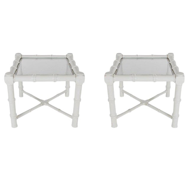 White Faux Bamboo Chinoiserie Tables - A Pair - Image 1 of 6