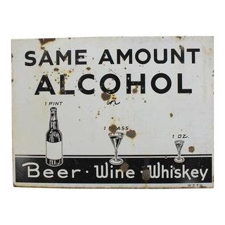 Rare Original American Prohibition WCTU Double-Sided Sign