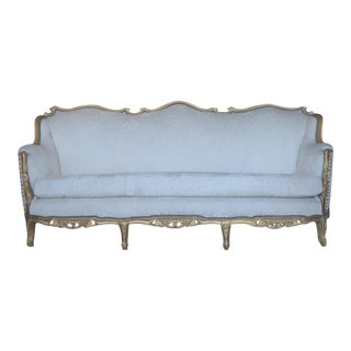 French Floral White Glitwood Sofa