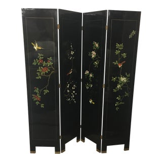 Hand Painted Black Lacquered Chinoiserie Screen