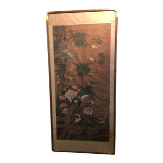 Chinese Qing Dynasty Painting on Silk, Brids and Flowers, early 19th century