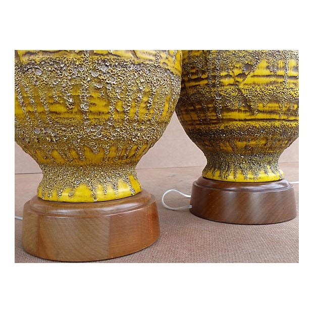 Image of Drip-Glaze Volcanic Ceramic Lamps- A Pair