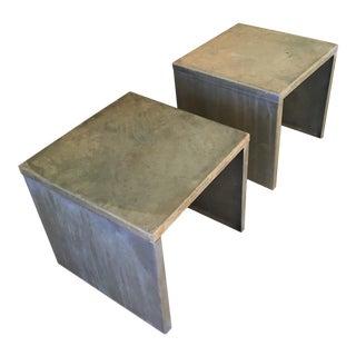 Industrial Distressed Metal Side Tables - Pair