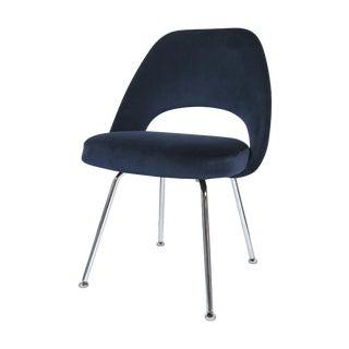 Saarinen Navy Velvet Armless Executive Chair
