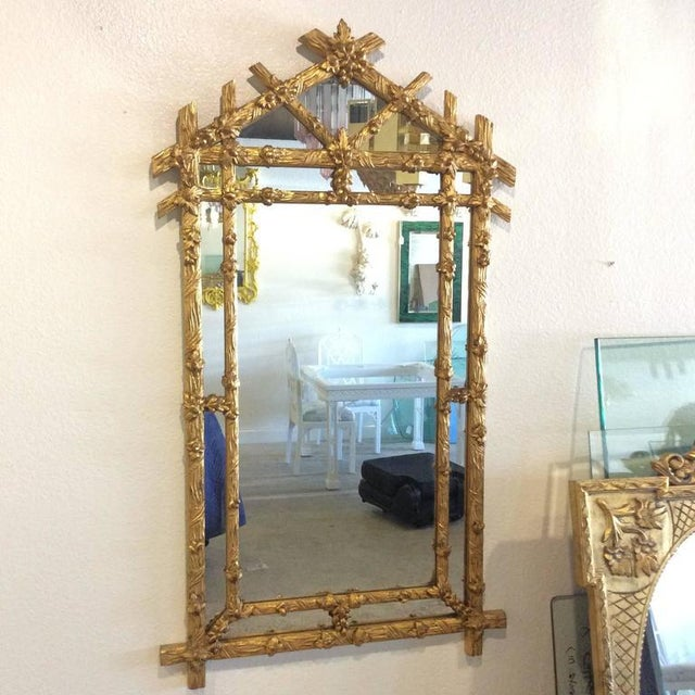 Vintage Hollywood Regency Floral Faux Bois Giltwood Wall Mirror - Image 7 of 8