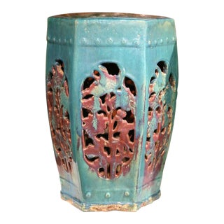 Early 20th Century Asian Green Porcelain Garden Stools - A Pair