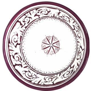 Moroccan Hand-Painted Medium Burgundy Ceramic Bowl