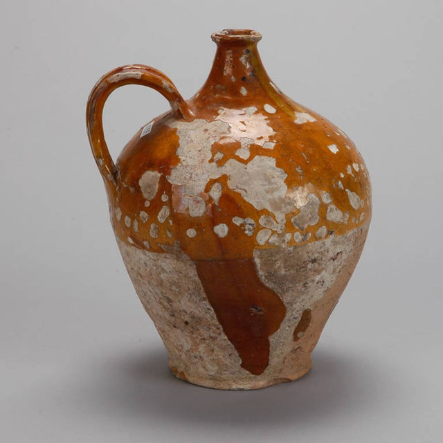 Antique French Pottery Jug with Yellow Glaze - Image 7 of 7