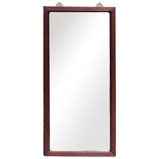 Red Wood Frame Rectangurlar Tall Floor Mirror