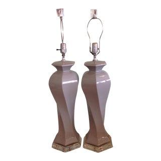 Morris Greenspan Ceramic & Lucite Lamps - A Pair