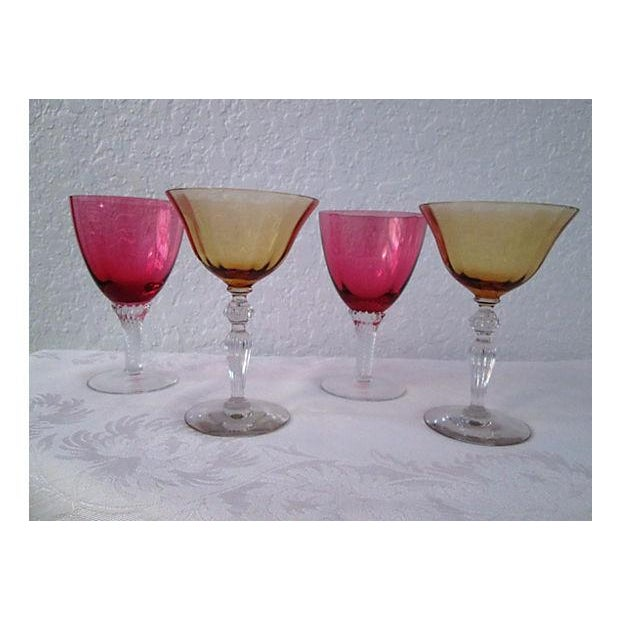 Vintage Raspberry & Honey Wine Glasses - S/4 - Image 2 of 6