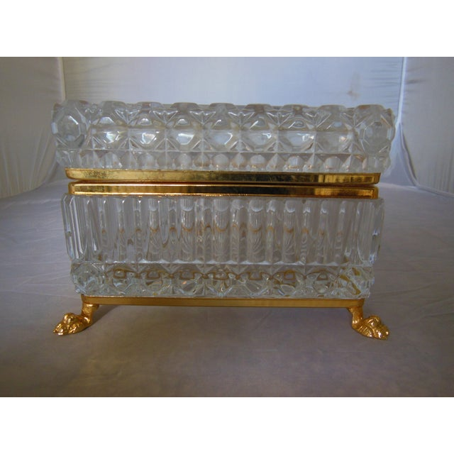 Image of Vintage Glass Box With Paw Feet