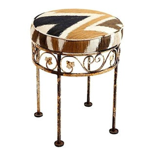Wrought Iron Zoffany Flame Stitch Stool