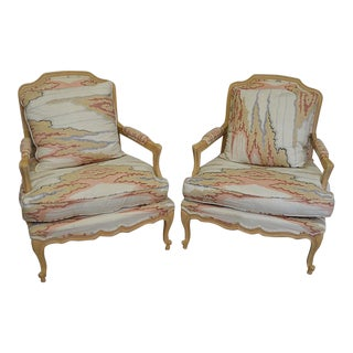 Whitewashed Frame Bergere Chairs - A Pair