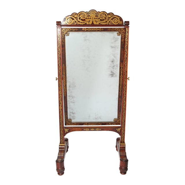 English Regency Rosewood Brass Inlay Boulle Work Cheval Mirror - Image 1 of 11