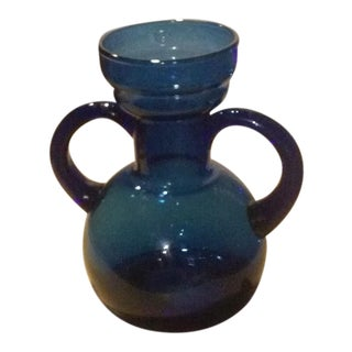 Blue Blown Glass Bulb Vase With Applied Handles