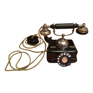 Antique Danish Black Rotary Phone