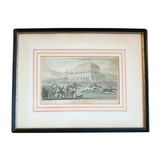 Antique English Equestrian Horse Races Engraving