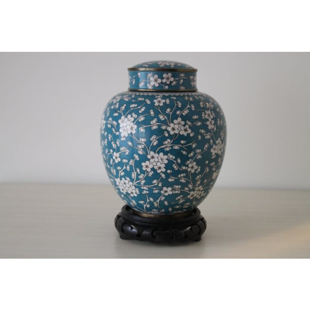 Cloisonn ginger jar with wooden stand chairish for Cloison stand
