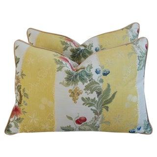 Designer Scalamandre Silk Lampas Pillows - a Pair