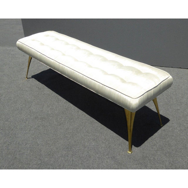 Jonathan Adler Mid-Century Modern Style Bench with Brass Legs - Image 6 of 11