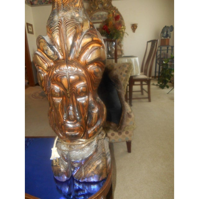 Hand Carved Mid-Century Face Table Lamps - Pair - Image 6 of 8