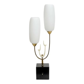 Italian Modern Brass Enamel and Glass Lamp, Arteluce
